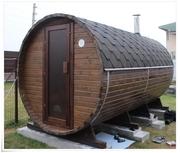 Изготовим: - деревянную баню-бочку,   - садовый домик,   - беседку