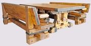 Дубовый набор мебели - МОГУЧИЙ - с кованным декором.