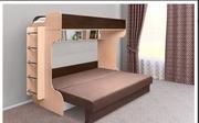Новая двухъярусная кровать внизу с двухспальным диваном